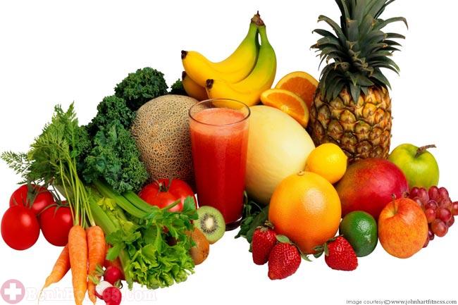 trái cây tươi và rau xanh