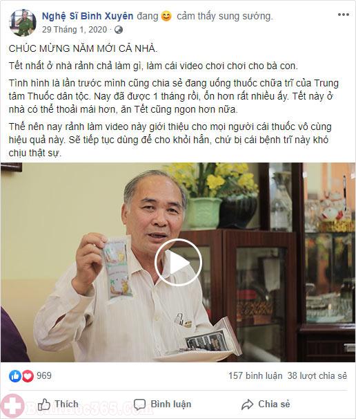NS Bình Xuyên livestream trên trang cá nhân