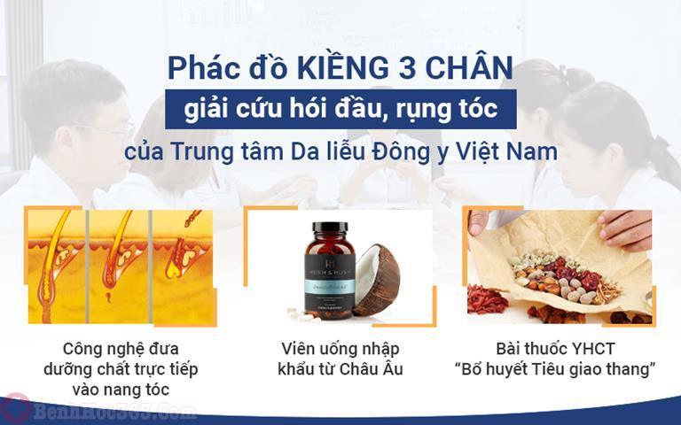 Phác đồ kiềng 3 chân của Trung tâm Da liễu Đông y Việt Nam mang đến giải pháp điều trị rụng tóc toàn diện