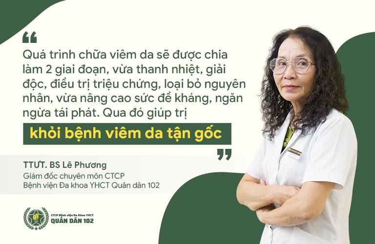 Bác sĩ Lê Phương chia sẻ về phương pháp chữa viêm da tại Quân dân 102