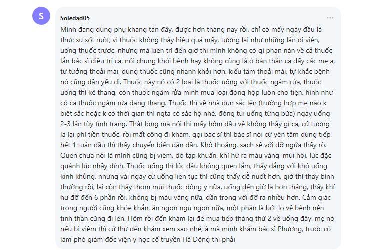 Bệnh nhân review về Phụ Khang Tán trên webtretho